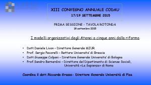 XIII CONVEGNO ANNUALE CODAU 1719 SETTEMBRE 2015 PRIMA