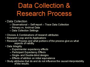 Data Collection Research Process Data Collection Observational Selfreport