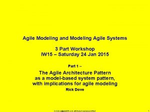 Agile Modeling and Modeling Agile Systems 3 Part