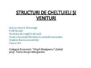 STRUCTURI DE CHELTUIELI I VENITURI Aria curricular Tehnologii