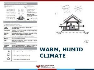 WARM HUMID CLIMATE MENA Shelter Cluster Shelter Cluster