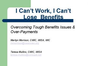 I Cant Work I Cant Lose Benefits Overcoming