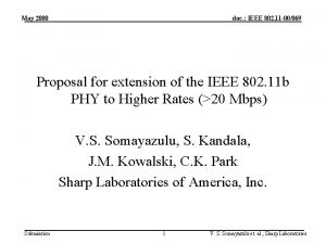 May 2000 doc IEEE 802 11 00069 Proposal