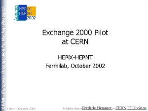 CERN European Organization for Nuclear Research Exchange 2000
