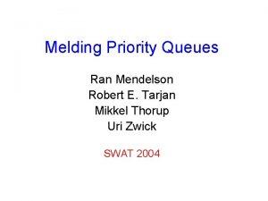 Melding Priority Queues Ran Mendelson Robert E Tarjan