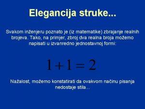 Elegancija struke Svakom inenjeru poznato je iz matematike