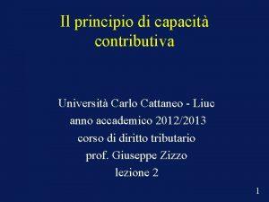 Il principio di capacit contributiva Universit Carlo Cattaneo