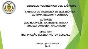 ESCUELA POLITCNICA DEL EJRCITO CARRERA DE INGENIERA EN