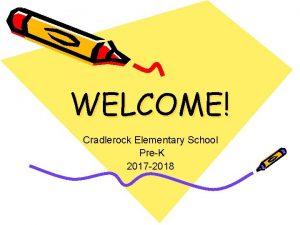 WELCOME Cradlerock Elementary School PreK 2017 2018 Meet