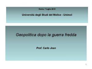 Roma 7 luglio 2015 Universit degli Studi del