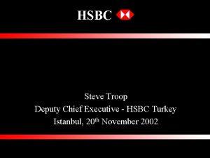 HSBC RISK MANAGEMENT FOR SENIOR BANKERS Steve Troop