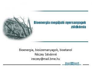 Bioenergia megjul nyersanyagok zldkmia Bioenergia biozemanyagok bioetanol Rczey