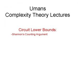 Umans Complexity Theory Lectures Circuit Lower Bounds Shannons