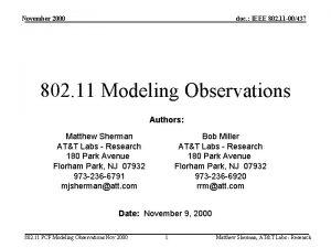 November 2000 doc IEEE 802 11 00437 802