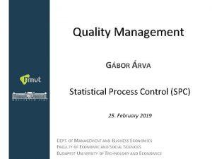 Quality Management GBOR RVA Statistical Process Control SPC