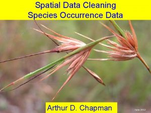 Spatial Data Cleaning Species Occurrence Data Arthur D
