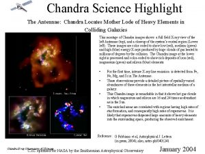 Chandra Science Highlight The Antennae Chandra Locates Mother