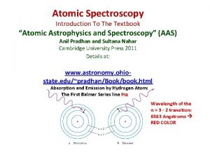 Atomic Spectroscopy Introduction To The Textbook Atomic Astrophysics