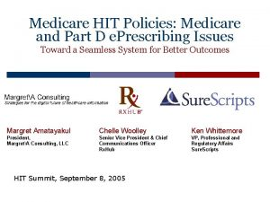 Medicare HIT Policies Medicare and Part D e