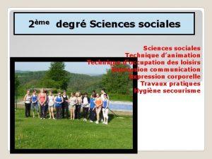 2me degr Sciences sociales Technique danimation Technique doccupation