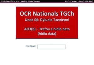 OCR Nationals TGCh 2010 Uned 06 Dylunio Taenlenni