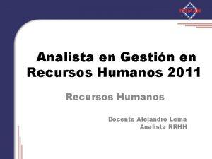 Analista en Gestin en Recursos Humanos 2011 Recursos
