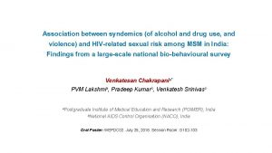 Association between syndemics of alcohol and drug use