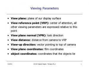 Viewing Parameters View plane plane of our display