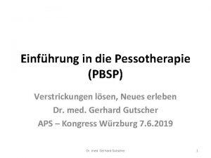Einfhrung in die Pessotherapie PBSP Verstrickungen lsen Neues