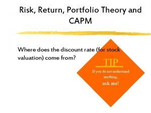 Risk Return Portfolio Theory and CAPM Where does
