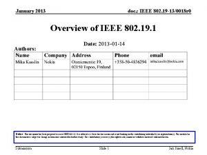 January 2013 doc IEEE 802 19 130018 r