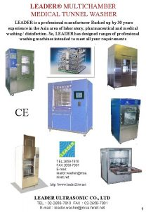 LEADER MULTICHAMBER MEDICAL TUNNEL WASHER LEADER is a