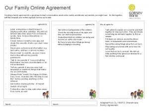 Our Family Online Agreement Creating a family agreement