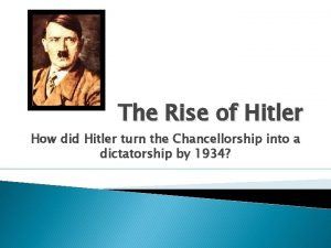 The Rise of Hitler How did Hitler turn
