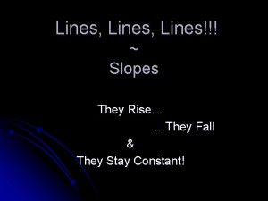 Lines Lines Slopes They Rise They Fall They