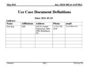 May 2011 doc IEEE 802 11 110750 r