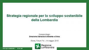 Strategia regionale per lo sviluppo sostenibile della Lombardia