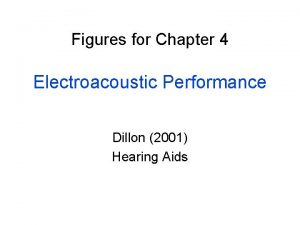 Figures for Chapter 4 Electroacoustic Performance Dillon 2001