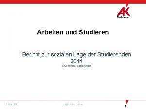 Arbeiten und Studieren Bericht zur sozialen Lage der