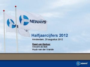 Halfjaarcijfers 2012 Amsterdam 29 augustus 2012 Raad van