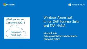 Windows Azure Conference 2014 Windows Azure Iaa S