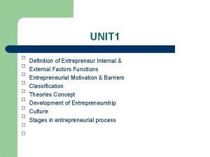 UNIT 1 Definition of Entrepreneur Internal External Factors