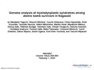 Genome analysis of myelodysplastic syndromes among atomic bomb