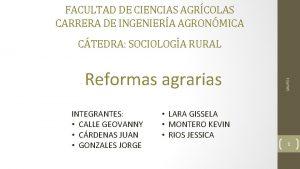 FACULTAD DE CIENCIAS AGRCOLAS CARRERA DE INGENIERA AGRONMICA