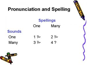 Pronunciation and Spellings One Many Sounds One Many
