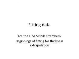 Fitting data Are the FESEM foils stretched Beginnings