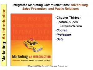 Marketing An Introduction Integrated Marketing Communications Advertising Sales