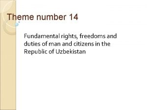Theme number 14 Fundamental rights freedoms and duties