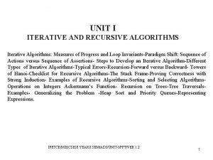 UNIT I ITERATIVE AND RECURSIVE ALGORITHMS Iterative Algorithms