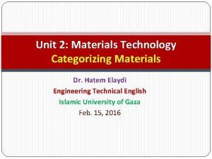 Unit 2 Materials Technology Categorizing Materials Dr Hatem